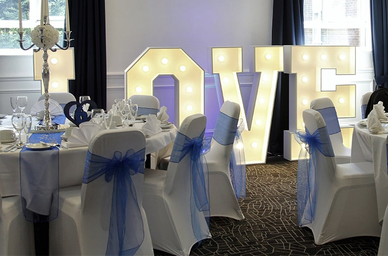 baby blue chair cover hire