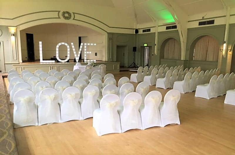 White chair covers with sash in birmingham